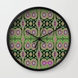 Abstract Colorful Cactus Vibes Repeat Pattern Wall Clock