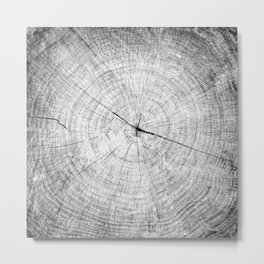 Black and white reclaimed wood tree with circle growth rings pattern Metal Print