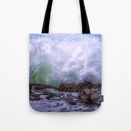 Inner Strength waves crashing at Moonstone Beach California Tote Bag