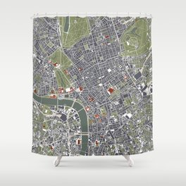 London city map engraving Shower Curtain