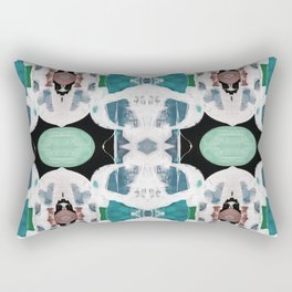 Teal Blue White On Black Abstract Rectangular Pillow