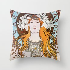 Alphonse Mucha Sarah Bernhardt Vintage Art Nouveau Throw Pillow