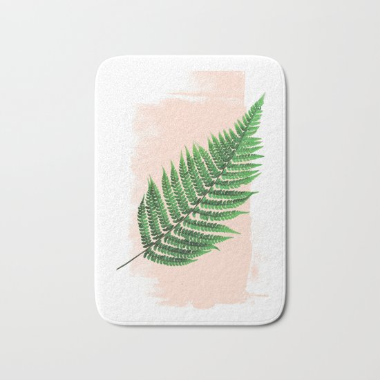 Fern Leaf on Pink Bath Mat
