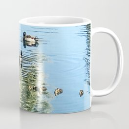 Pond Reflections of Ducks With Ducklings and Palm Trees Coffee Mug