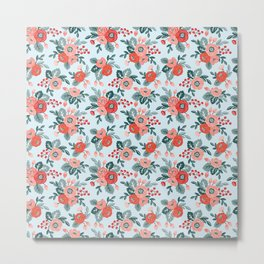 Floral seamless pattern on a blue background Metal Print