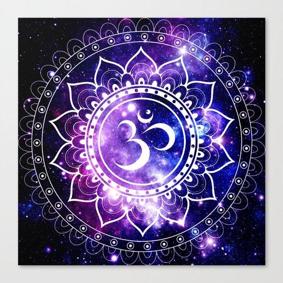 om mandala: purple blue space Canvas Print