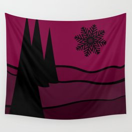 Mulled Berry Wine Snow Flake and Trees Wall Tapestry