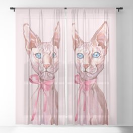 Gorgeous Sphynx Cat Sheer Curtain