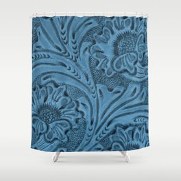 Cornflower Blue Tooled Leather Shower Curtain