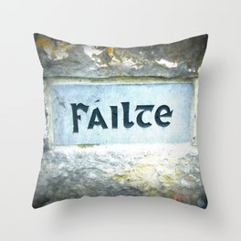 Failte Stone - Irish for Welcome - Aran Islands Throw Pillow