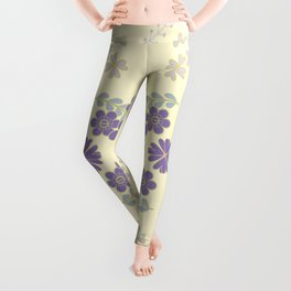 The pattern with the image of flowers gently pastel shades and botanical elements. Minimalistic desi Leggings