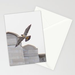 Peregrine falcon in flight over the Cathedral of Learning in Pittsburgh 9 Stationery Cards