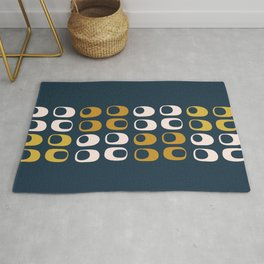 Midcentury Modern Pods Minimalist Abstract Pattern in Mustard, Pale Pink, and Navy Rug