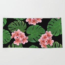 Tropical Floral Print Black Beach Towel