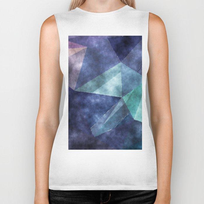 The deep blue sea- Watercolor triangles pattern in blue colors Biker Tank