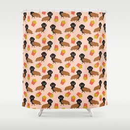 Hot Dog weener Dachshund breed cute weiner dog owner pet portrait funny junk food hot dog  Shower Curtain