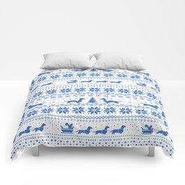 Love Joy Peace Wiener Dogs Blue Pattern Comforters
