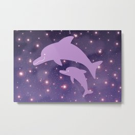 Parent-child of dolphin in Universe _03 Metal Print
