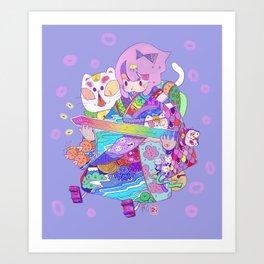 Rainbow sword -Nekoneko Art Print