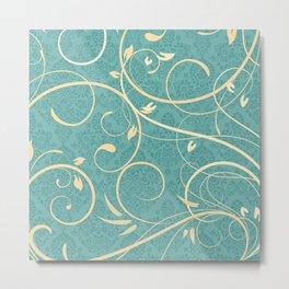 Teal Damask Pattern with Cream Swirls Metal Print