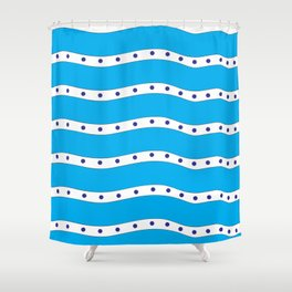 Coastal Pattern Blue Ocean Shower Curtain