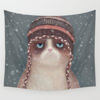 cat coquillette Wall Tapestries featuring Christmas Cat by Lime