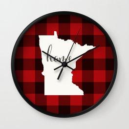 Minnesota is Home - Buffalo Check Plaid Wall Clock