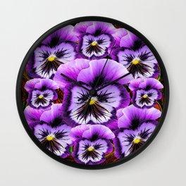 Lilac-Purple Decorative Pansies Pattern Art Wall Clock