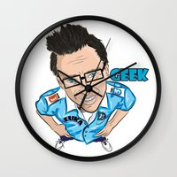 geek Wall Clocks featuring GEEK by VIKAART