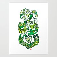 tiki Art Prints featuring TIKI  by Jun Arita