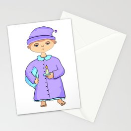 Gnome with pillow and candle Stationery Cards
