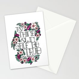 "Hand-lettered ""Be True"" Shakespeare quote with floral motifs Stationery Cards"