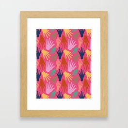 Minimalist Hands in Coral Framed Art Print