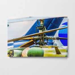 Coaxial Main Rotor Of A Modern Helicopter. Blades And Tails Aviation Art Metal Print