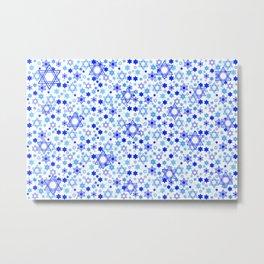 Dynamic Blue Stars of David Pattern Metal Print