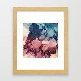 Navy Teal Blush Maroon Abstract Watercolor Painting, Framed Art Print