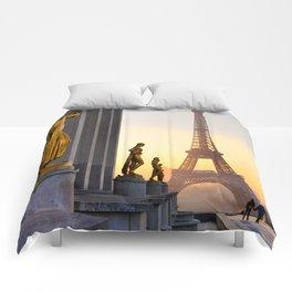 Sunrise in Paris France Comforters