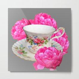 FLORAL TEA CUP & PEONY FLOWERS YELLOW ART Metal Print