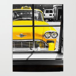 vintage yellow taxi car with black and white background Poster