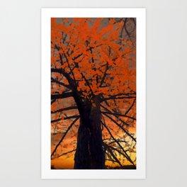 Fall Red Tree Painting Art Print
