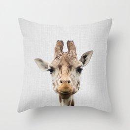 Giraffe - Colorful Throw Pillow