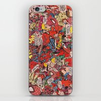 comic book iPhone & iPod Skins featuring Spiderman comic book collage by vanityfacade