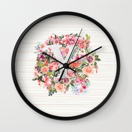 Initial Letter Y Watercolor Flower Wall Clock