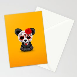 Red Day of the Dead Sugar Skull Panda Stationery Cards
