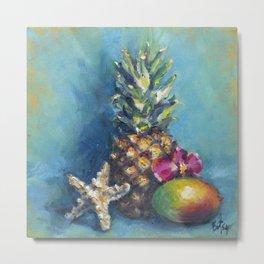 Tropical Dreams: Pineapple Painting Metal Print