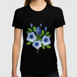 Branch of abstract blue flowers T-shirt