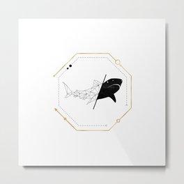 Shark Black Gold Geometric LowPoly Metal Print