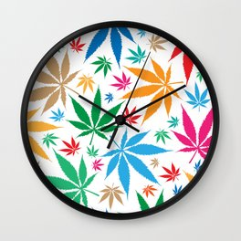 marijuana leaf color pattern Wall Clock