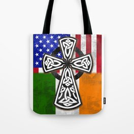 St. Patricks Day Irish American CelticCross Flag Shirt Tote Bag