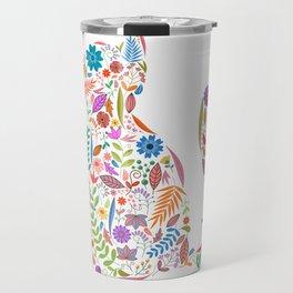 Fancy And Fine Flowered Cat Garden Design Travel Mug
